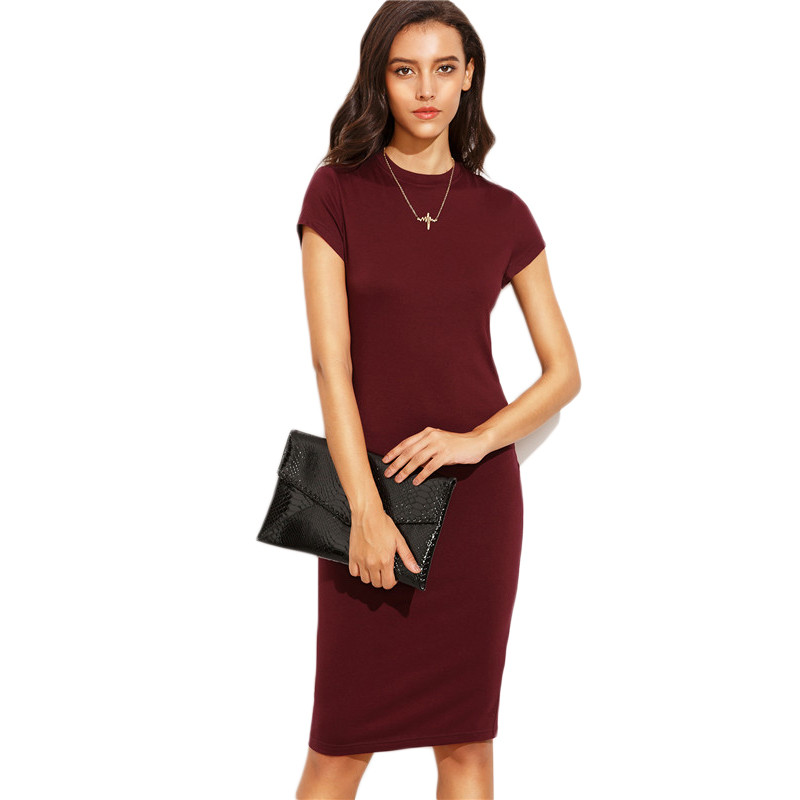 COLROVIE Summer Office New Arrival Women's Bodycon Dresses Fashion Sexy Short Sleeve Crew Neck Work Knee Length Dress 14