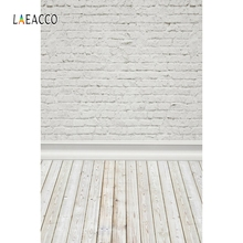 Laeacco White Brick Wall Wooden Floor Portrait Grunge Photography Backgrounds Customized Photographic Backdrops For Photo Studio