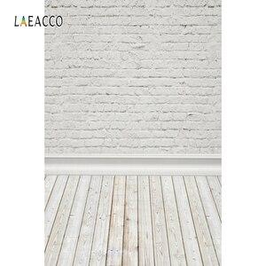 Image 2 - Laeacco Witte Bakstenen Muur Houten Vloer Photophone Fotografie Achtergronden Baby Pop Huisdier Portret Achtergronden Voor Fotostudio Props