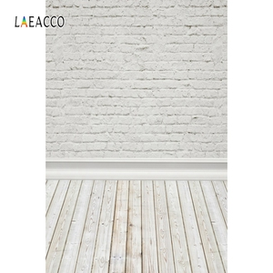 Image 2 - Laeacco白レンガの壁木製床photophone写真撮影背景ベビードールペット肖像の背景の写真の小道具