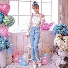 Милые брюки в стиле Лолиты для принцессы; яркие дождевые осенние джинсы с розами; жаккардовые ковбойские брюки на подтяжках с высокой талией и бантом; C15CD5853