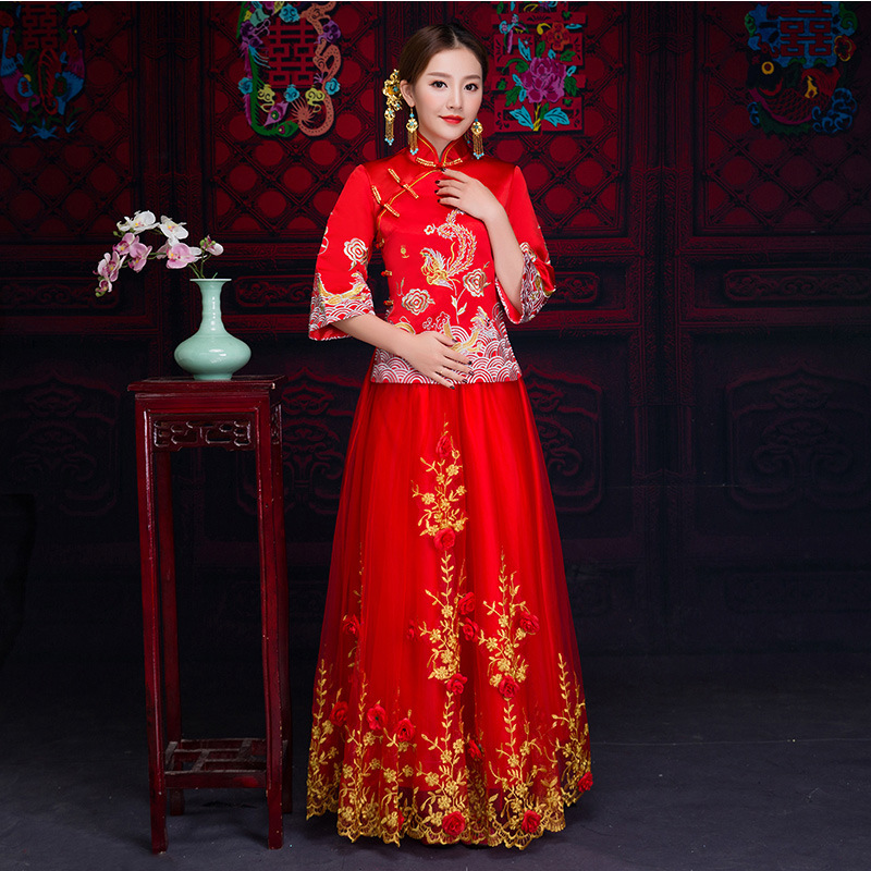 Broderie exquise femmes Vintage Cheongsam Style chinois Dragon & Phoenix robe de mariée costume de mariage traditionnel Long Qipao