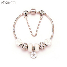 Poshfeel European Flower Charm Bracelet Silver 925 Jewelry Diy Beads Jewellery Pulseira Feminina Mbr170150