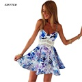 2016 New Fashion Summer Women Hollow Out Lace Floral Printed Dress Sleeveless Spaghetti Strap V-neck Mini Sexy Party Dresses