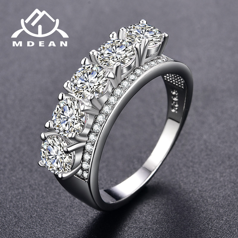 MDEAN Engagementg Rings For Women AAA Zircon Jewelry White Gold Color Female Wedding Bange Bijoux պարագաներ MSR342