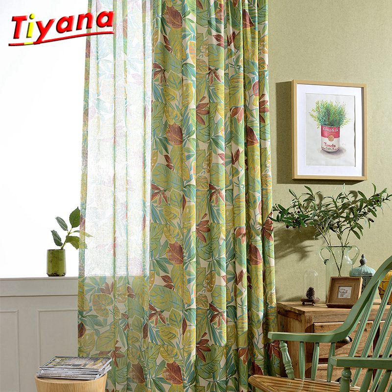 US $7.92 39% OFF High Quality Finished Products Living Room Curtain Window  Screening Luxury Curtain Designs Leaves Yellow Colorful New wp093 *30-in ...