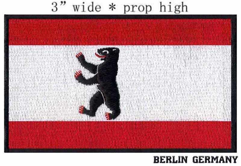 """3 """"breed Berlijn, Duitsland Vlag borduurwerk patch voor champions league patch/half cirkel/een dier op walking"""