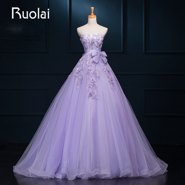 New Real Picture Violet Wedding Dresses Strapless Appliques Flower Crystal Stone Tulle A Line
