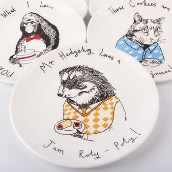 8inch Rabbit Animals Ceramic Cake Plate White Round Plates Dishes Ring Butter Dish  Serving Platter Home Dinnerware Decoration