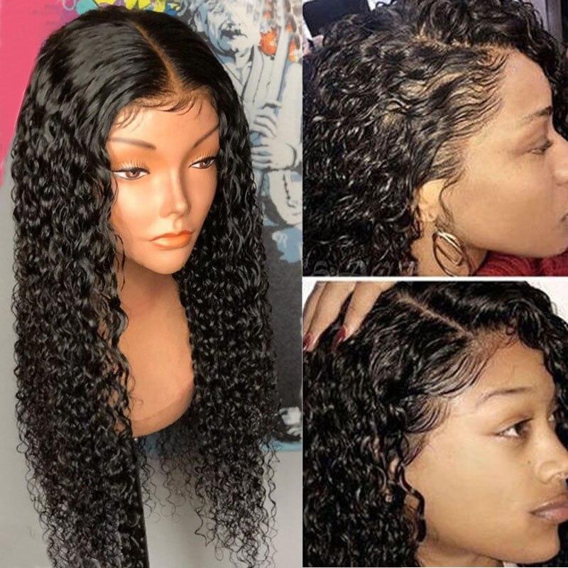 250 blīvuma mežģīņu priekšējie cilvēka matu parūkas - Cilvēka mati (melnā krāsā) - Foto 6