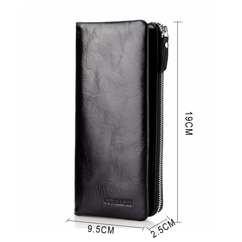 CONTACT'S 2019 New Classical Genuine Leather Wallets Vintage Style Men Wallet Fashion Brand Purse Card Holder Long Clutch Wallet 3