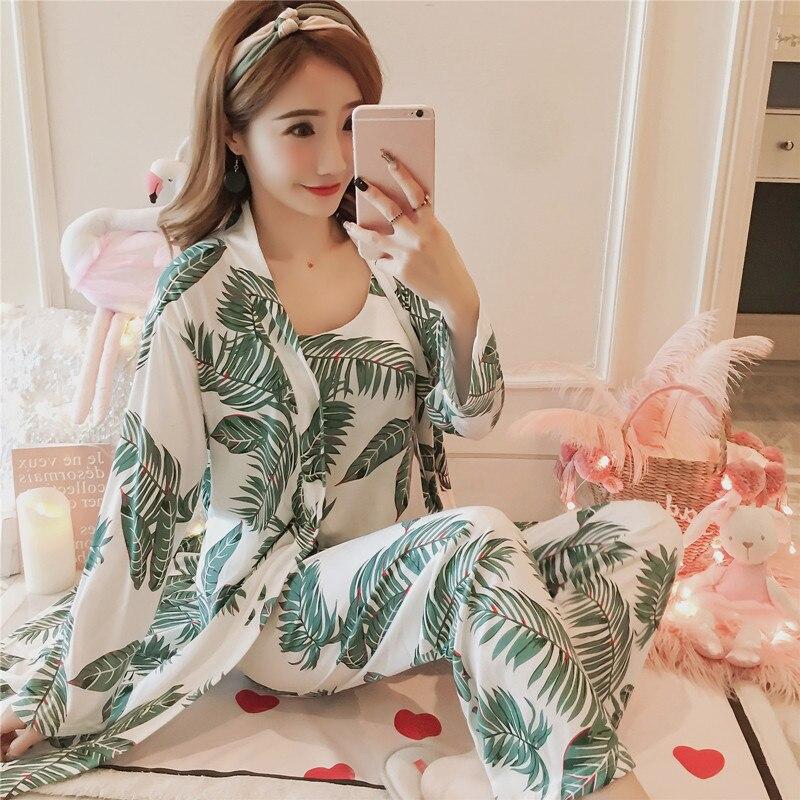 Women's 3 Pieces Pajamas Sets 2020 Spring And Summer Furnishing Wear Sexy Women Pajama Sets Nightdress+Robe+Pant Female Pajamas