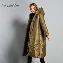 Ceciliayu 2018 New Winter Original Large Size Cotton Suit Long Style Pure Color Hooded Womens Cocoon Warm Clothes