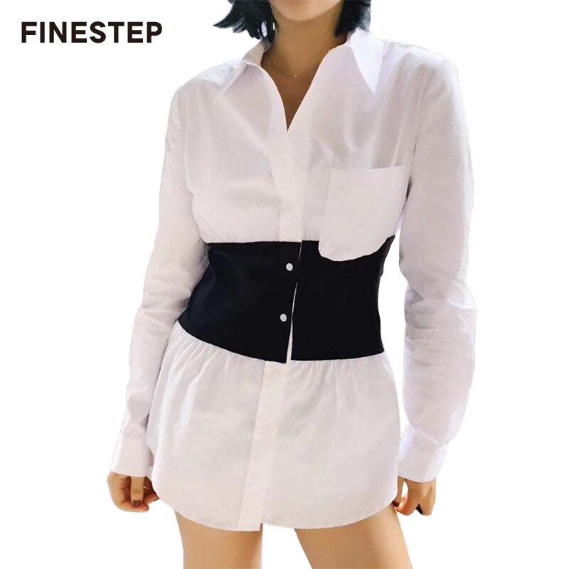 Printemps Nouvelle Chemise En Coton Robe Blanc Noir Chemise Robe 2018 Femmes Automne Robe À Manches Longues Plus La Taille Lâche Robe Courte casual
