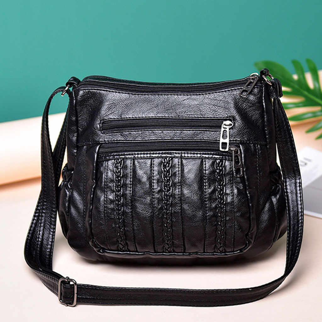 คุณภาพสูงผู้หญิงแฟชั่นกระเป๋า Messenger สีดำ Messenger กระเป๋าถุงไหล่กระเป๋าสายคล้องไหล่ยาวขนาดใหญ่ไหล่แพ็ค