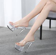 Buty damskie 2019 letnie modelki T Show seksowne buty z kryształkami 15cm na wysokim obcasie przezroczyste wodoodporne kapcie tarasowe V2526