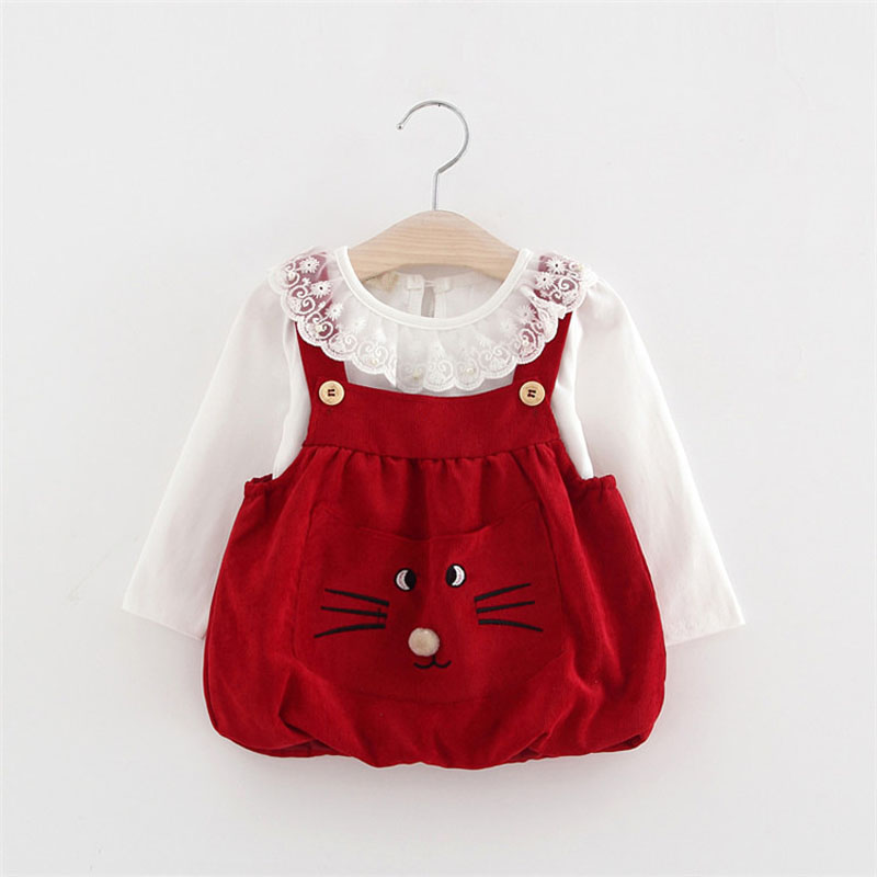 2017 new arrive spring autumn baby girls clothing sets vest dress T shirt cat pattern cute