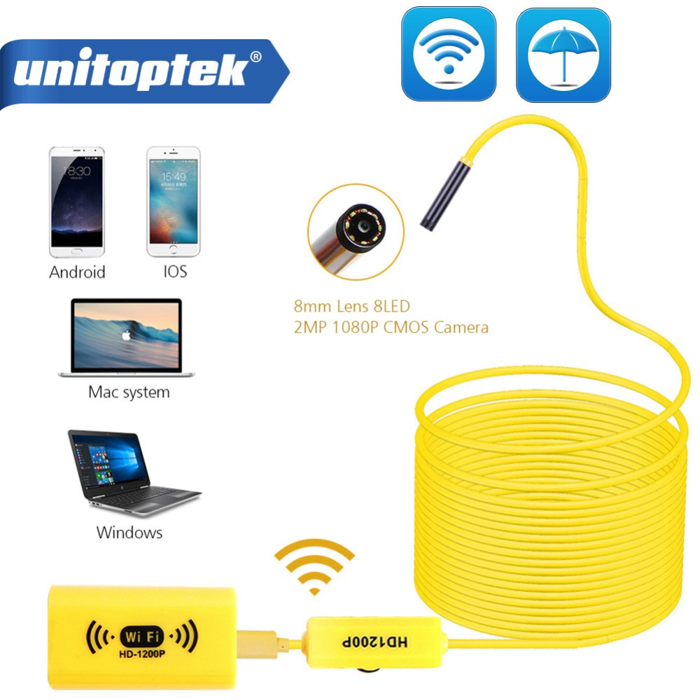 WIFI endoscopio Cámara Full HD 1200 P 8mm Android iPhone serpiente rígido Cable inalámbrico IOS impermeable boroscopio 8 LED 2MP cámara USB