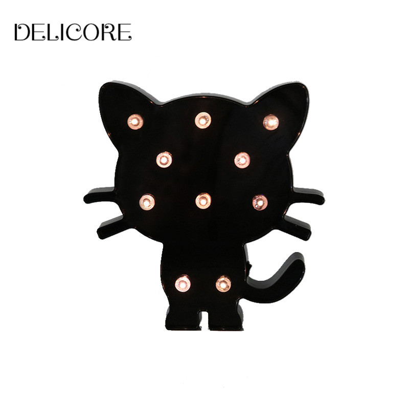 DELICORE Plastic Black Cat Night Lights Warm Light Bedside Lamp For Baby Children Room Decoration S192