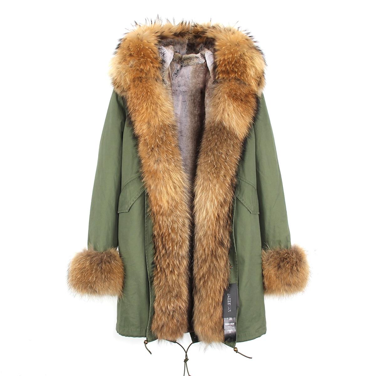 JAZZEVAR 2019 New High Fashion Women's Luxurious Large Fox Fur Collar Raccoon Cuff Parkas Hooded Coat Outwear Warm Winter Jacket