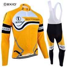 BXIO Winter Thermal Fleece Cycling Sets Long Sleeve Warm Bike Set Breathable Yellow Bicycle Clothing Ropa