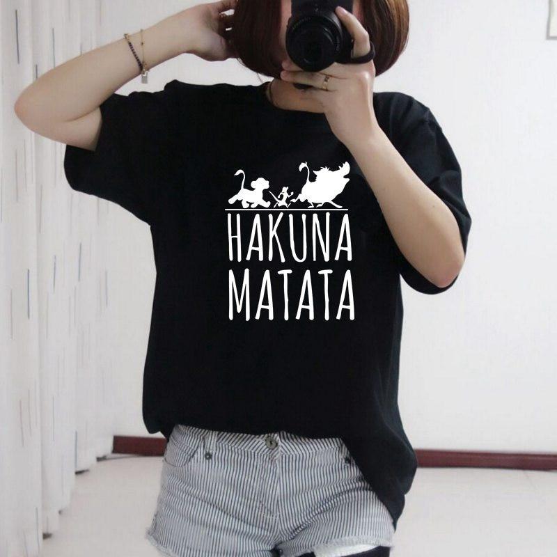 FIXSYS Kawaii Funny T Shirts Hakuna Matata Print Women Summer Short Sleeve Tshirt Women Tops Casual Tee Fashion Female T-shirts