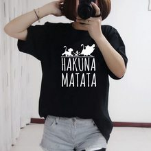 цена на FIXSYS Kawaii Funny T Shirts Hakuna Matata print Women Summer Short Sleeve Tshirt Women Tops Casual Tee Fashion Female T-shirts