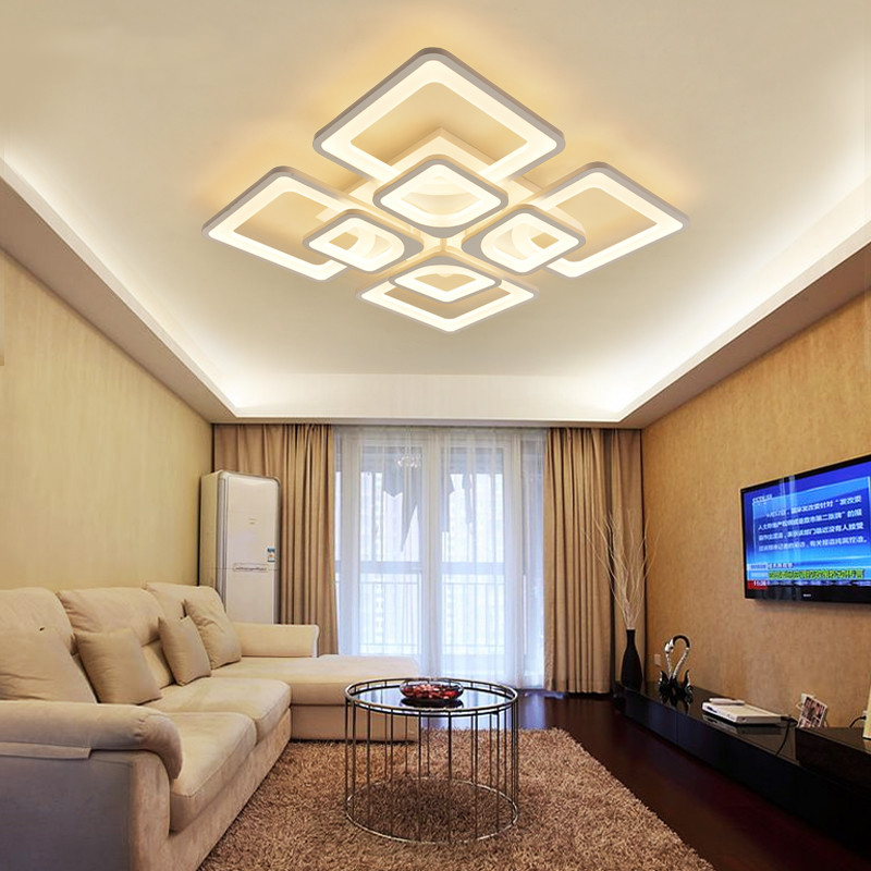 Art Deco Modern Minimalist Geometric Rectangular Square White Dimmable Large Foyer 220V Led Ceiling Chandelier Salon