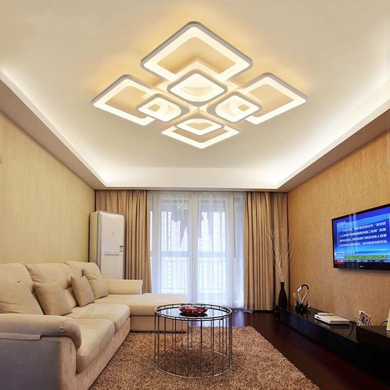 Art Déco Moderne Minimaliste Géométrique Rectangulaire Carré Blanc Dimmable Grand Hall 220 v Led Plafond Lustre Salon Salon