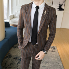 Autumn 2 Piece ( Jacket + Pant) Stripe Suit Male Business Casual Slim Fit Anzug Herren Men Prom Suits Wedding Costume Homme Luxe