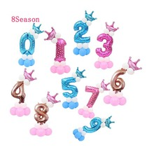 8 Season 32inch Rose Gold Blue Pink Number Foil Balloons Digit air Ballon Birthday Party decorations Kids Baby Shower Globos