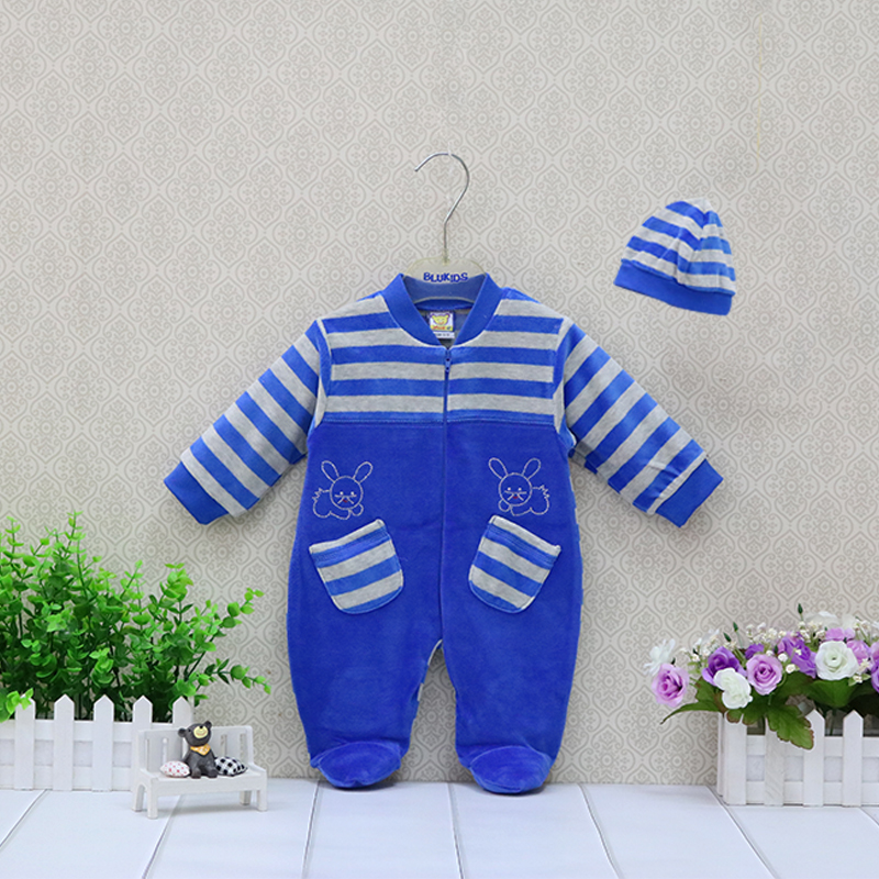 Girls Rompers+Hat 2 Pieces/set Baby Clothing Set Boys Striped Clothes Outfits Newborn Suits Verlour Long Sleeve Overalls newborn baby winter clothes romper set cotton baby clothing for girls boys striped rompers infant long sleeve product bebek