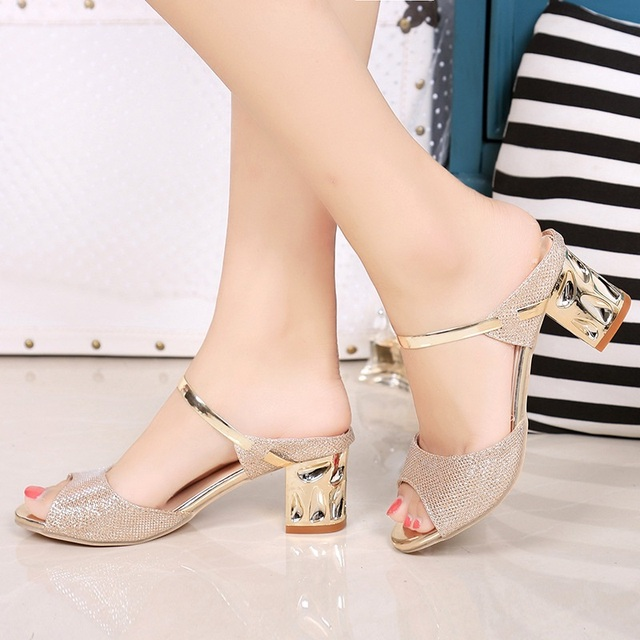 Metal Square Heel Women Sandals Women Heel Shoes Gold Sliver Peep Toe Party Ladies Sandals 1