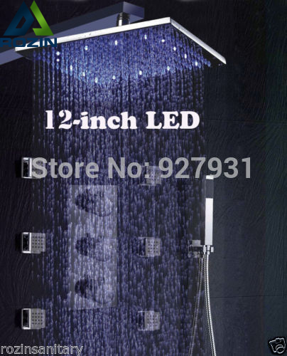Free Shipping Wholesale And RetaiL Wall Mounted Chrome Finished Thermostatic Rainfall Shower Kit + 6pcs Body  Massage Jets wholesale and retail 20pc 9pin gold plated ceramic tube socket audio accessories rs1003 f3a amplifier free shipping