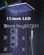Free Shipping Wholesale And RetaiL Wall Mounted Chrome Finished Thermostatic Rainfall Shower Kit + 6pcs Body  Massage Jets
