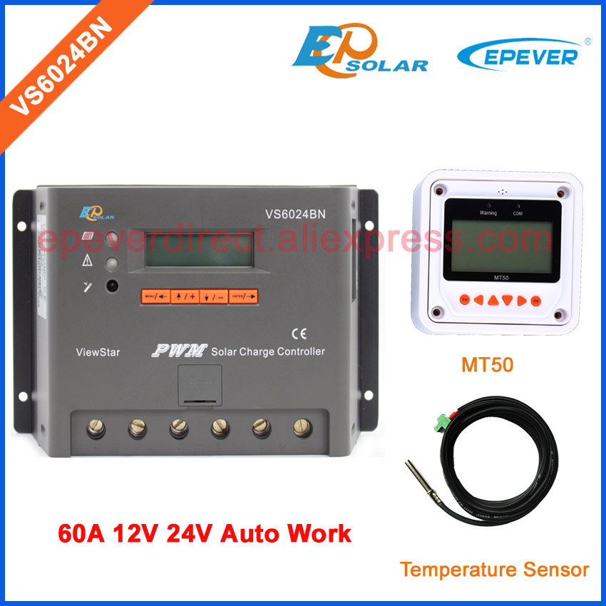EPEVER PWM 60A VS6024BN with temperature sensor and MT50 Meter for setting PWM system solar charger conroller LCD displayEPEVER PWM 60A VS6024BN with temperature sensor and MT50 Meter for setting PWM system solar charger conroller LCD display