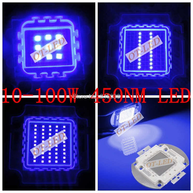 High Quality 10W 20W 30W 50W 100W Royal Blue Color 450NM  High Power LED Lamp Light For Plant Grow Light  Aquarium
