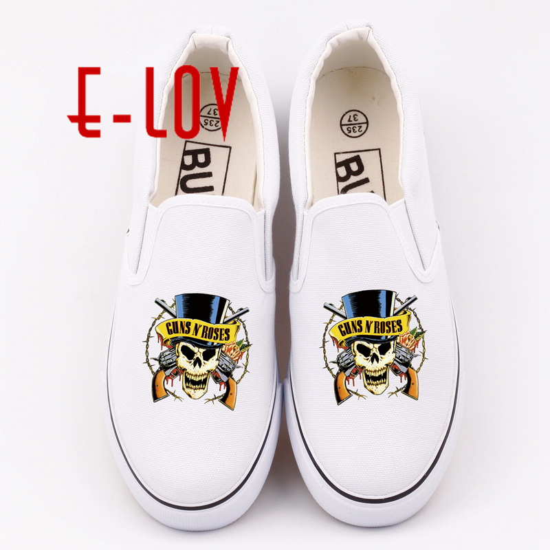 E-LOV Hot Gan N Roses Pattern Printed Shoes for Women Fashion High Top Canvas Shoes Casual Breathable Vulcanization Shoes e lov women casual walking shoes graffiti aries horoscope canvas shoe low top flat oxford shoes for couples lovers