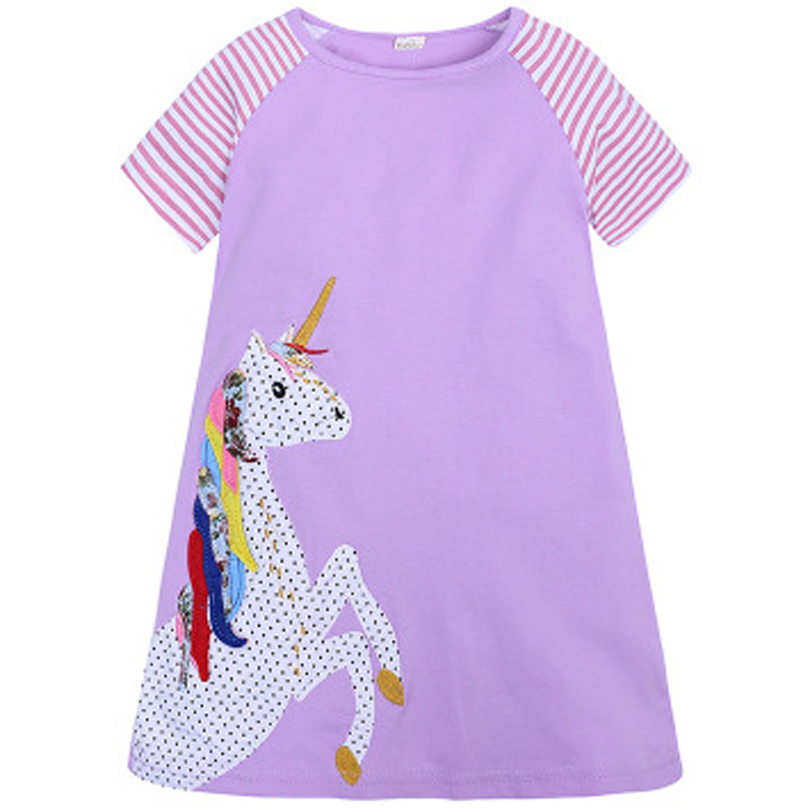 0 6Year Kids Girl A line Dresses Summer Chidlren Clothes Toddler Girls Dress Baby Cotton Short Sleeve Print Cartoon Casual Dress in Dresses from Mother Kids