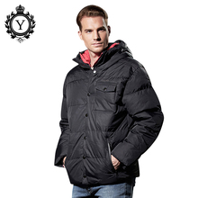 COUTUDI Brand 2016 Fashion Men Jacket Down, High Quality Winter Jackets For Male With Pockets,Solid Black Hooded Casual Clothing