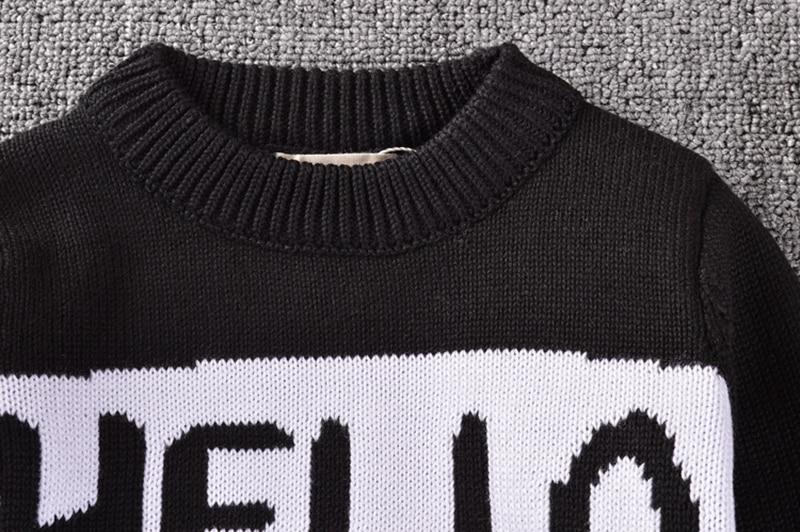 Anya lánya divat pulóver 2018 új levél nyomtatás fekete kötött - Gyermekruházat - Fénykép 4