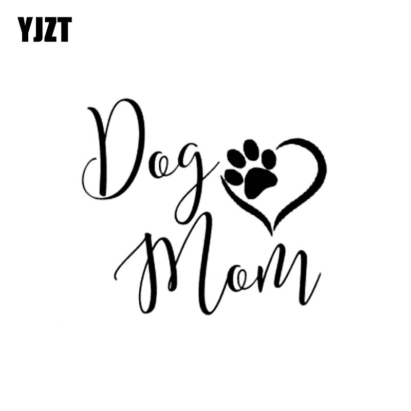 YJZT 12.7CM*11.2CM Dog Mom Sweet Footprints Vinyl Car Sticker Decals Black/Silver C10-00420