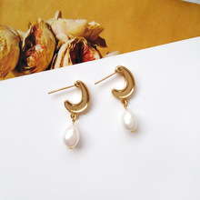 Sweet New Design Zinc alloy C shape With White Pearl Small Drop Earrings For Women Jewerly