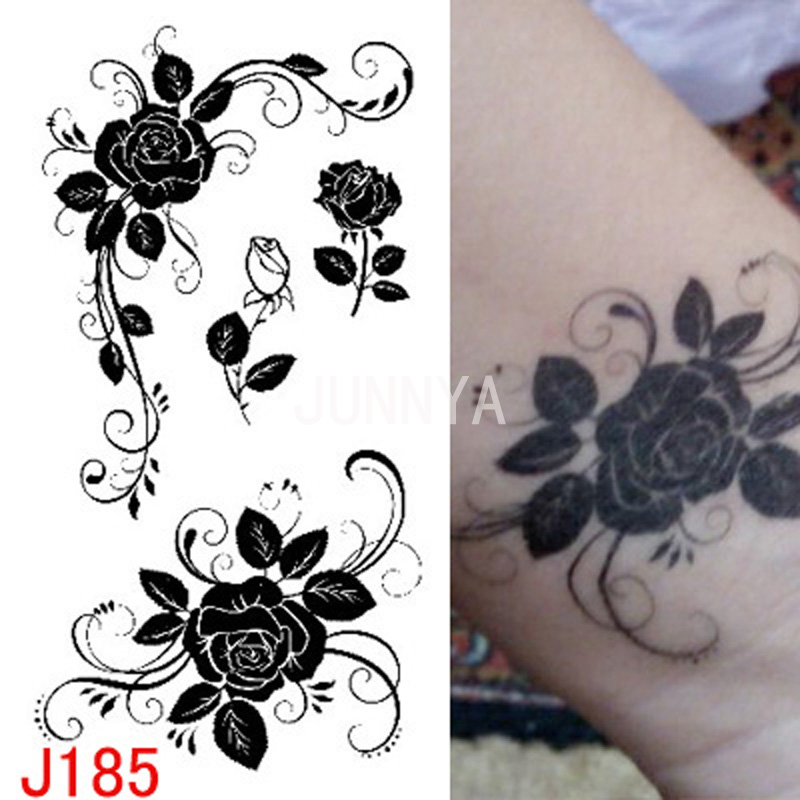 1x black white flowers rose design flash tattoo temporary tattoos for women small tattoo finger. Black Bedroom Furniture Sets. Home Design Ideas