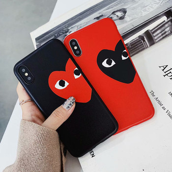 luxury brand CDG Play Comme des Garcons Non-slip cover case for iphone 6 6Plus 6S 7 7plus 8 8Plus X XR XS Max Fashion phone case marvel glass iphone case