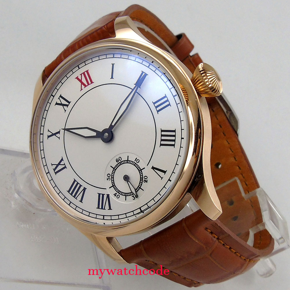 44mm parnis white dial rose golden case Rome Nummer sea-gull 6498 hand winding mens watch uhr цена и фото