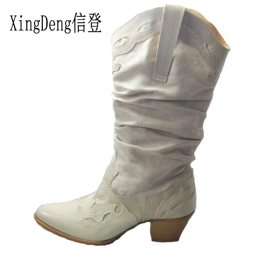 Women Brand Pointed Toe Western Cowboy Boots Lady Carving Mid Calf Shoes Girl Square Heel Knight Snow Boots Size 35-42