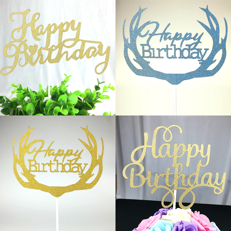 1pc DIY Cupcake Cake Topper Multi Shape Happy Birthday Flags For Family Kids Party Baking Decoration Supplies In Decorating