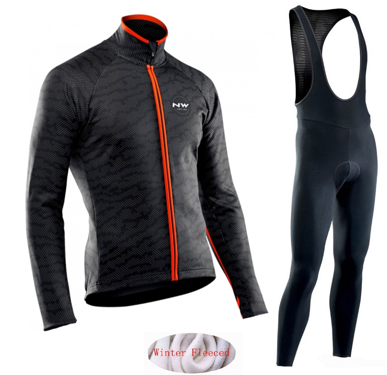 Image 2 - Northwave 2019 Winter thermal fleece Set Cycling Clothes NW men's Jersey suit Sport riding bike MTB clothing Bib Pants Warm sets-in Cycling Sets from Sports & Entertainment