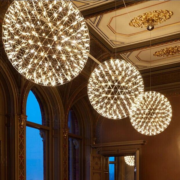 led firework light Stainless Steel firework ball pendant lights Modern Creative restaurant hotal lighting villa lamps 20cm-90cm
